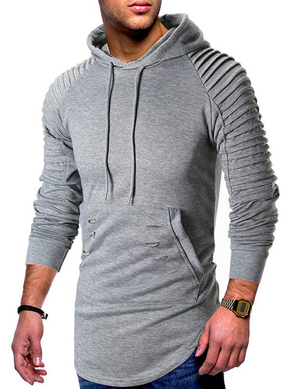 Trendy Pleated Raglan Sleeve Ripped Pullover Hoodie