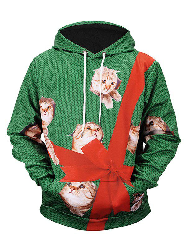 Outfits Christmas Bowknot Cat Print Casual Hoodie