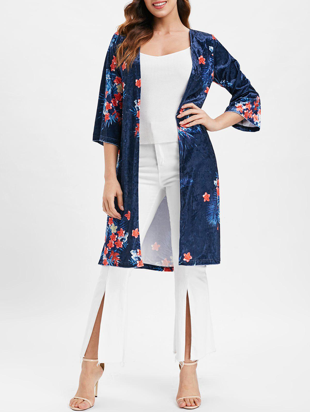 Unique Open Front Floral Longline Velvet Coat