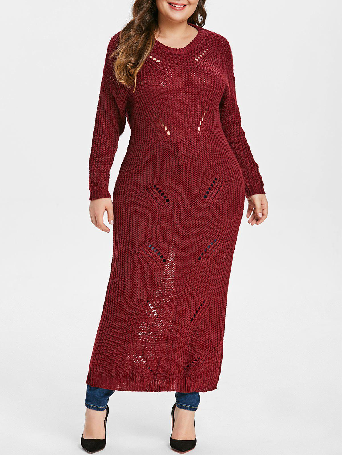 2019 Plus Size Ripped Maxi Sweater Dress Rosegalcom