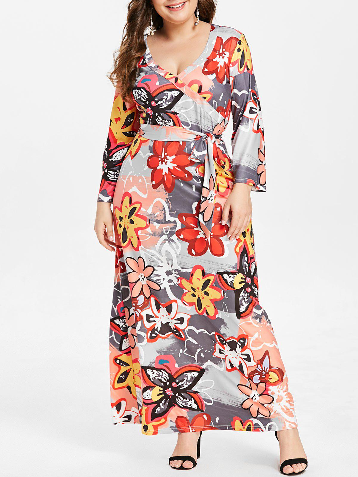 Outfits Plus Size Belted Floral Print Maxi Dress