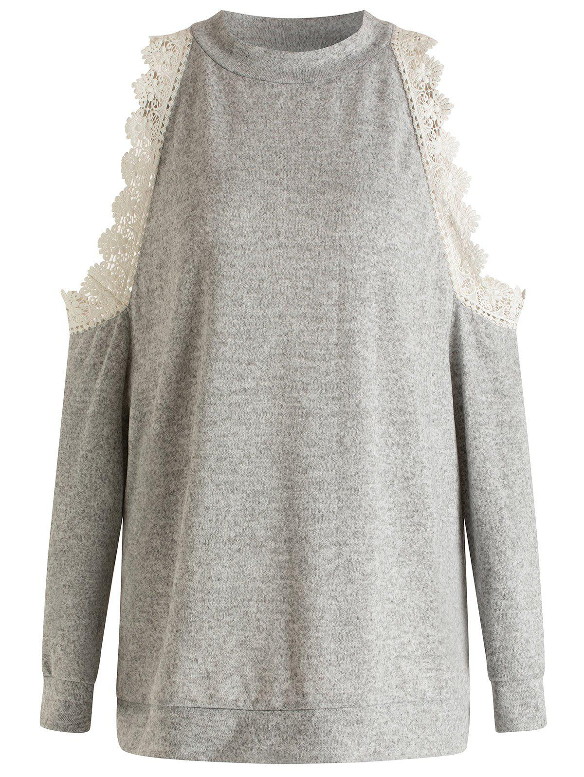 Latest Plus Size Lace Splicing Cold Shoulder Sweatshirt