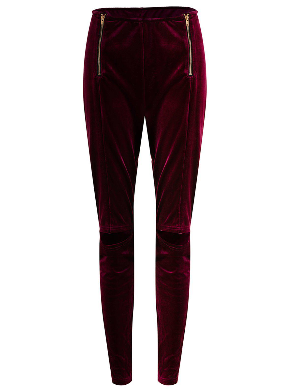 Outfit Plus Size Zip Ripped Velvet Leggings