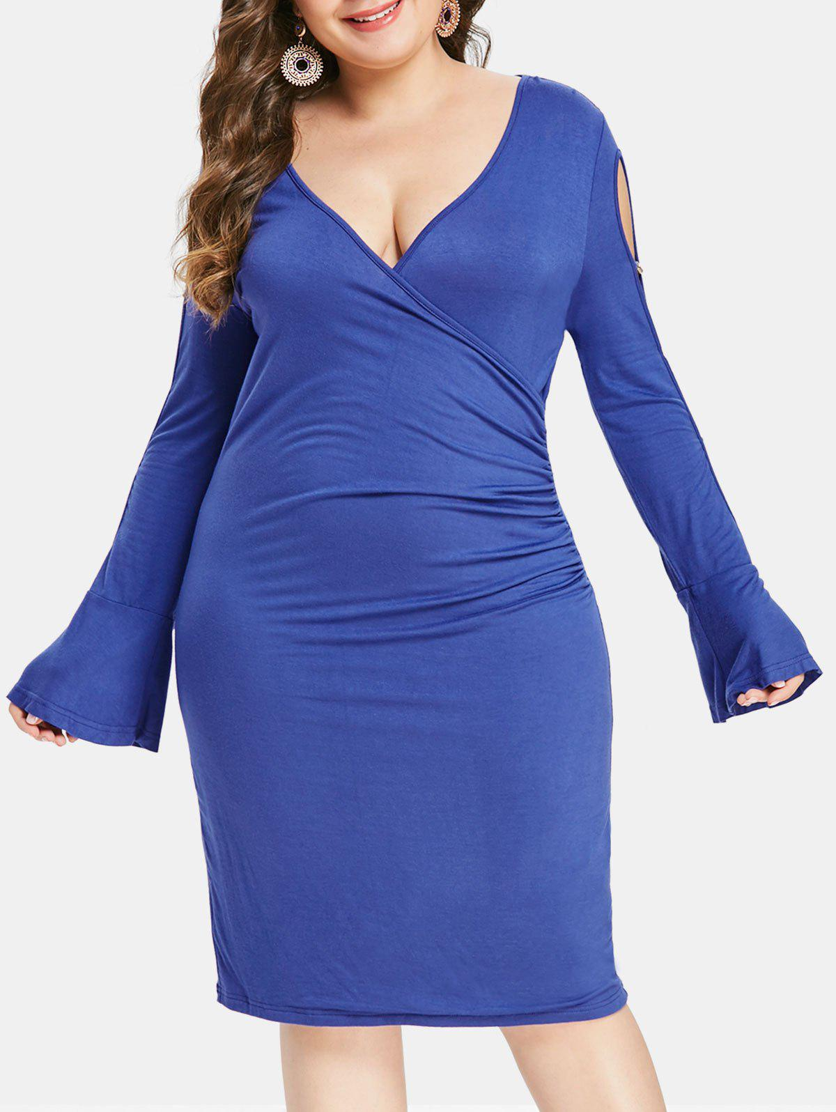 Latest Plus Size Cut Out Sleeve Solid Color Bodycon Dress