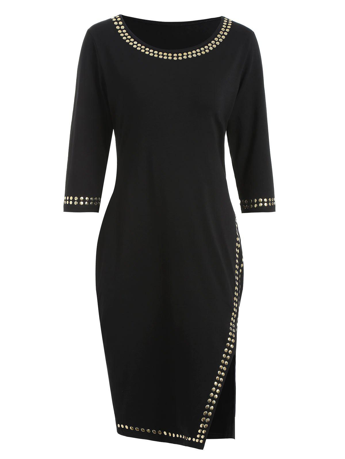 Rivet Embellished Front Slit Bodycon Dress, Black