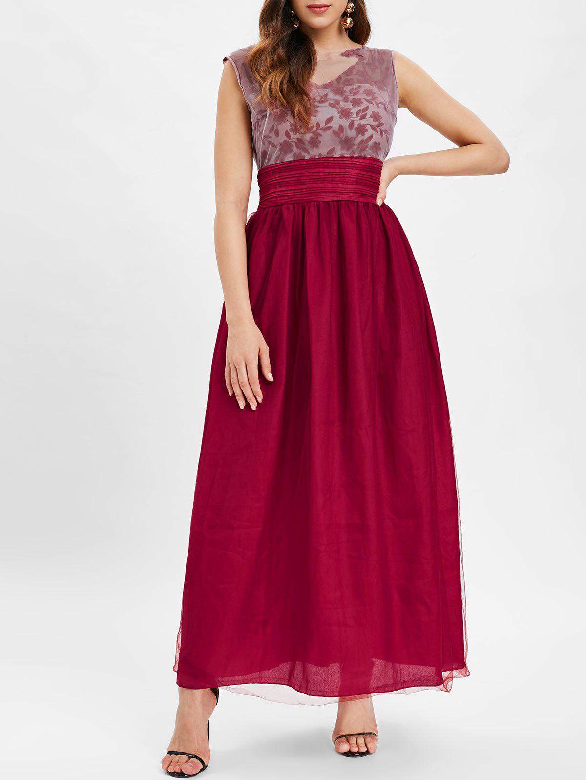 Outfits Mesh Panel Embroidered Maxi Dress