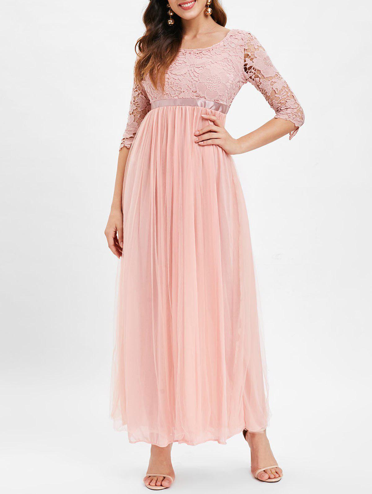 Shops Lace Panel High Waisted Maxi Tulle Dress