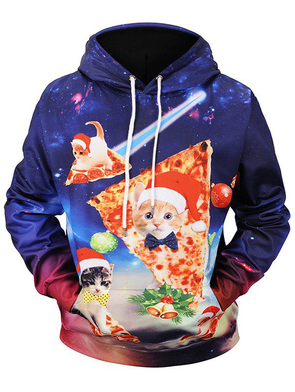Trendy Christmas Pizza Cat Print Pullover Hoodie