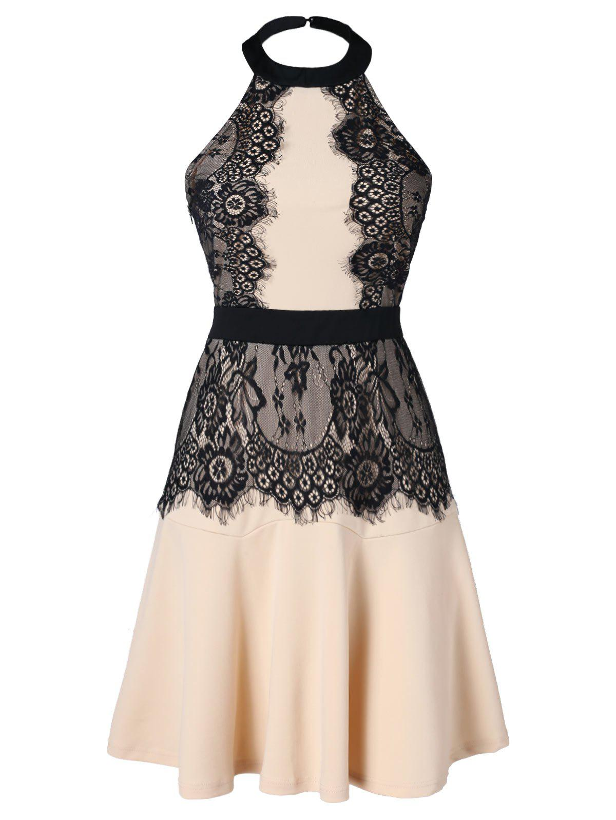 Fancy Backless Lace Panel Halter Dress