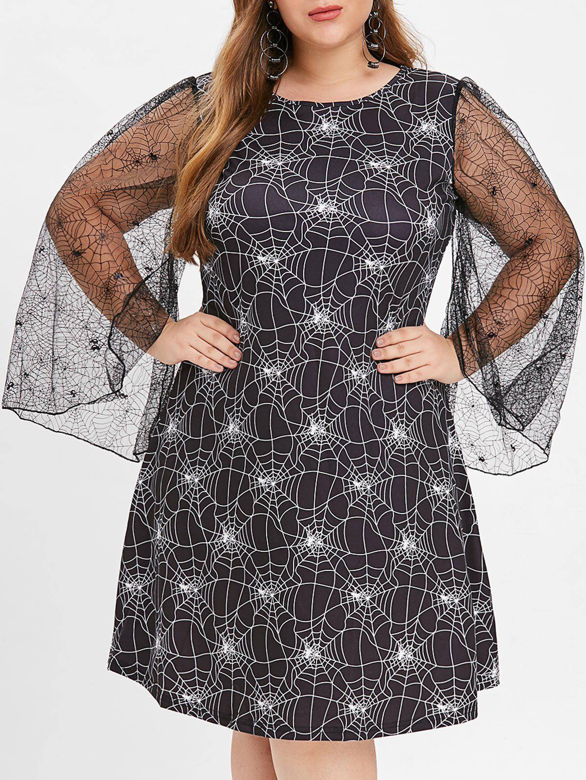 New Halloween Sheer Plus Size Spider Web Dress
