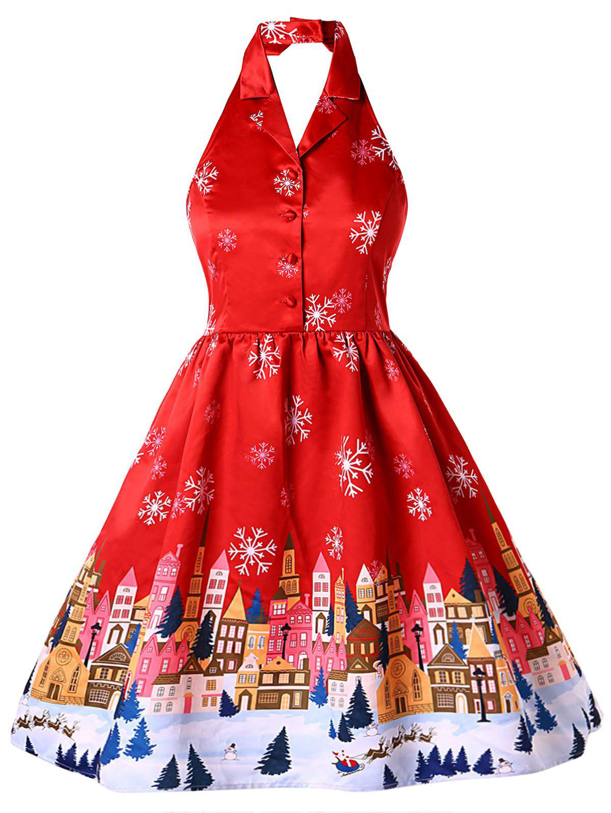 Outfit Plus Size Christmas Print Vintage Dress