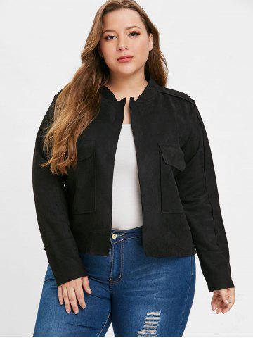 Front Pockets Plus Size Turn Down Collar Jacket