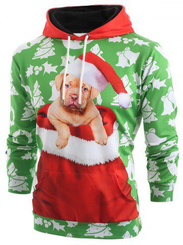 Christmas Puppy Print Pouch Pocket Hoodie