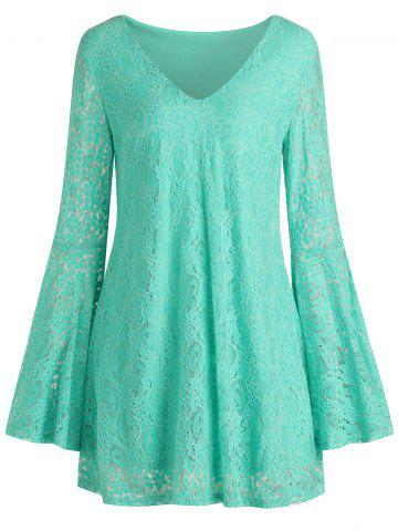 Bell Sleeve Mini Lace Dress
