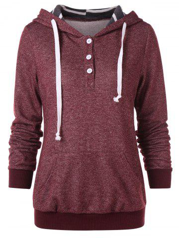 Button Embellished Drawstring Hoodie