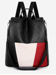 Color Block PU Leather School Backpack -