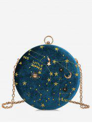 Round Shape Embroidery Star Crossbody Bag -
