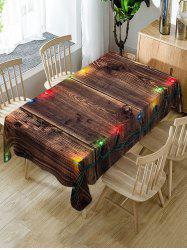 Christmas Light Wooden Print Fabric Waterproof Table Cloth -
