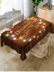 Merry Christmas Light Fabric Waterproof Table Cloth -