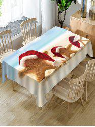 Christmas Hat Starfish Print Fabric Waterproof Table Cloth -