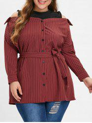 Striped Plus Size Cold Shoulder Shirt Dress -