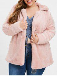 Turn Down Collar Plus Size Faux Fur Coat -