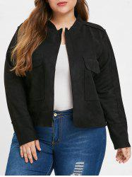Front Pockets Plus Size Turn Down Collar Jacket -