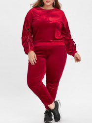 Round Neck Plus Size Velvet Sport Suit -