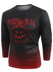 Halloween Pumpkin Lantern Print Long Sleeve T-shirt -