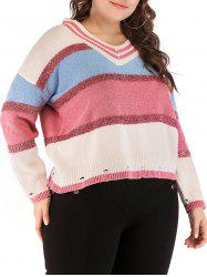 Plus Size Color Block Ripped Sweater -
