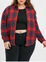 Plus Size Buttoned Plaid Coat -