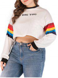 Plus Size Colorful Striped Crop T-shirt -