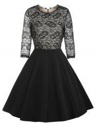 Retro Lace Panel Pin Up Dress -