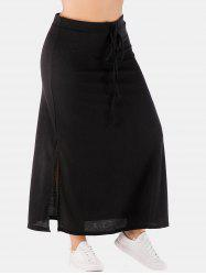 Plus Size High Waisted Slit Skirt -