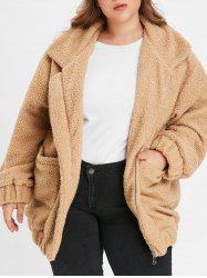 Plus Size Zipper Fluffy Coat -