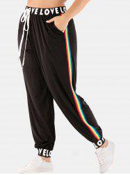 Plus Size Striped Side Letter Jogger Pants -