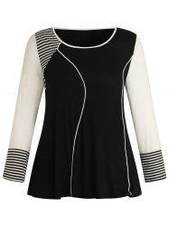 Plus Size Stripe Color Block Long Sleeves T Shirt -