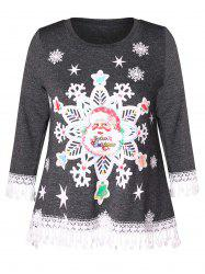 Christmas Santa Claus Print Lace Panel Plus Size T-shirt -
