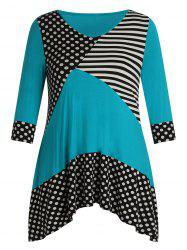 Plus Size V Neck Polka Dot Stripe Splicing T Shirt -