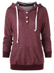 Button Embellished Drawstring Hoodie -