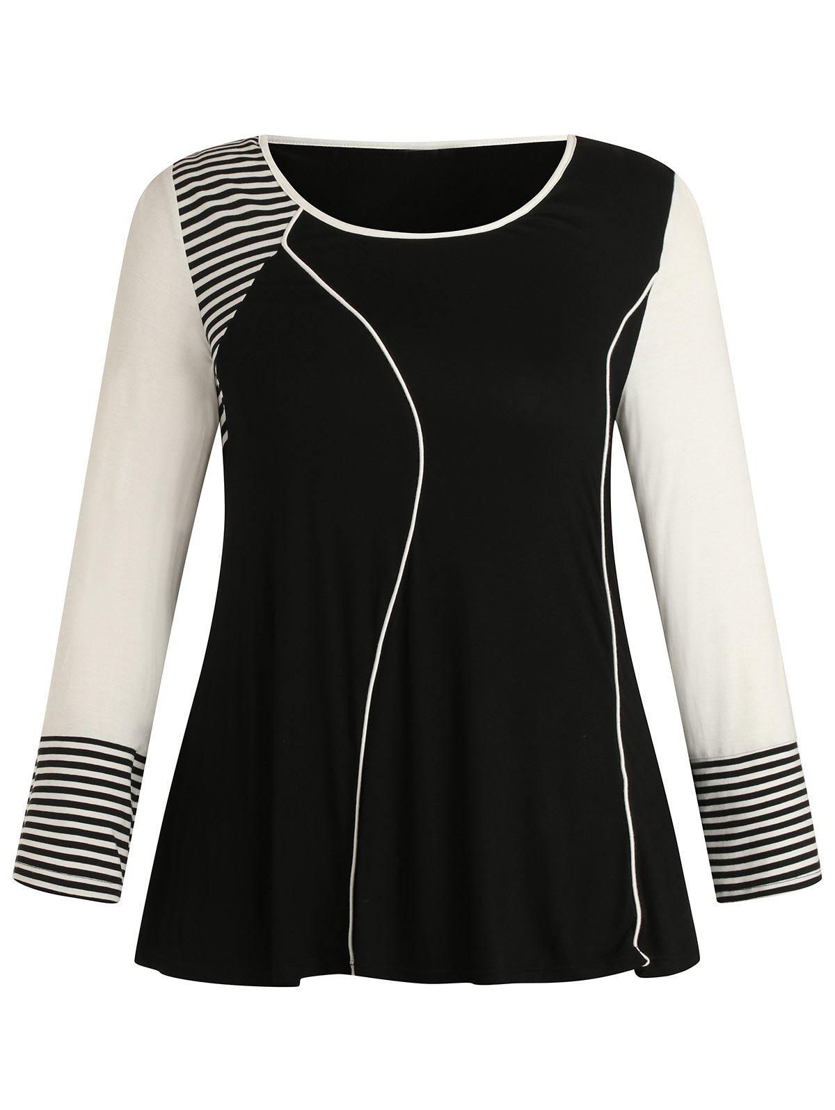 Discount Plus Size Stripe Color Block Long Sleeves T Shirt