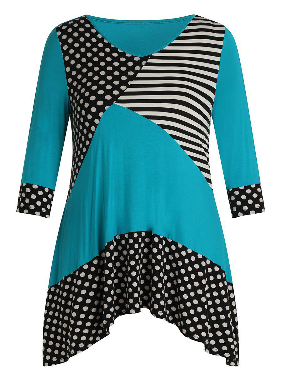 Affordable Plus Size V Neck Polka Dot Stripe Splicing T Shirt