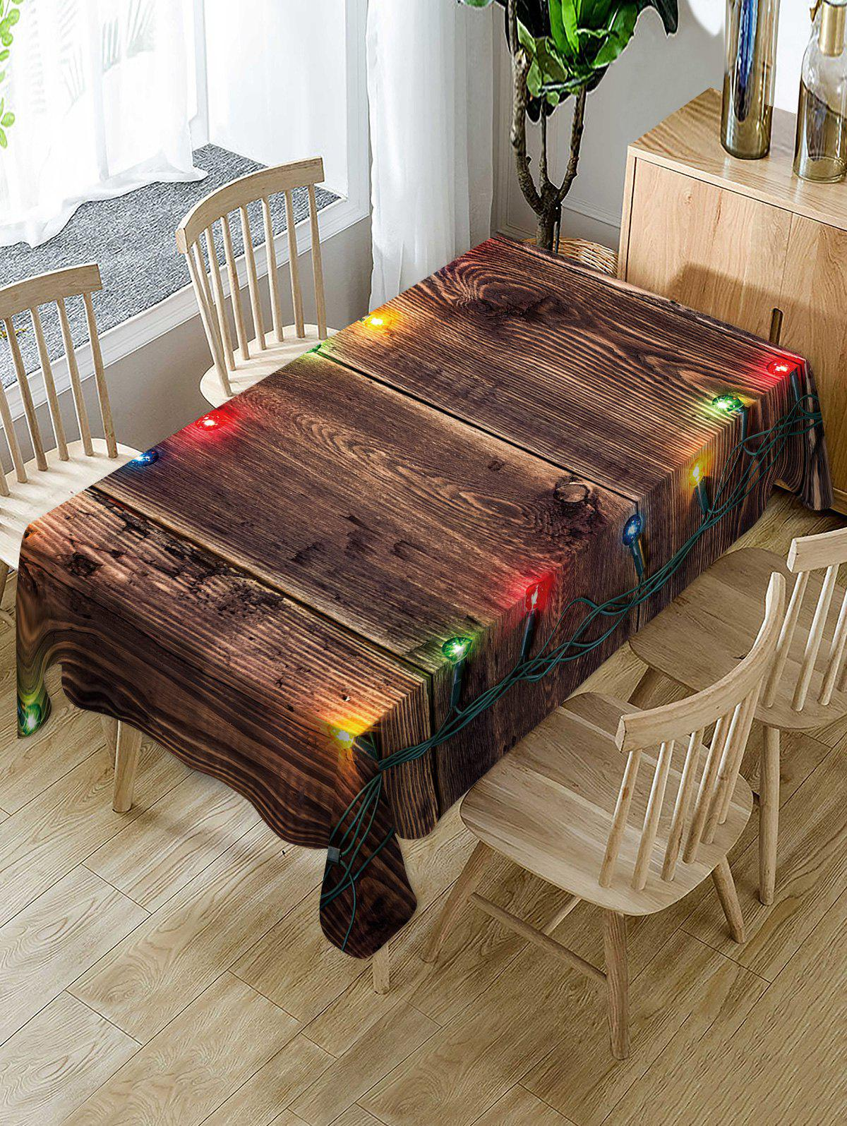 Outfits Christmas Light Wooden Print Fabric Waterproof Table Cloth