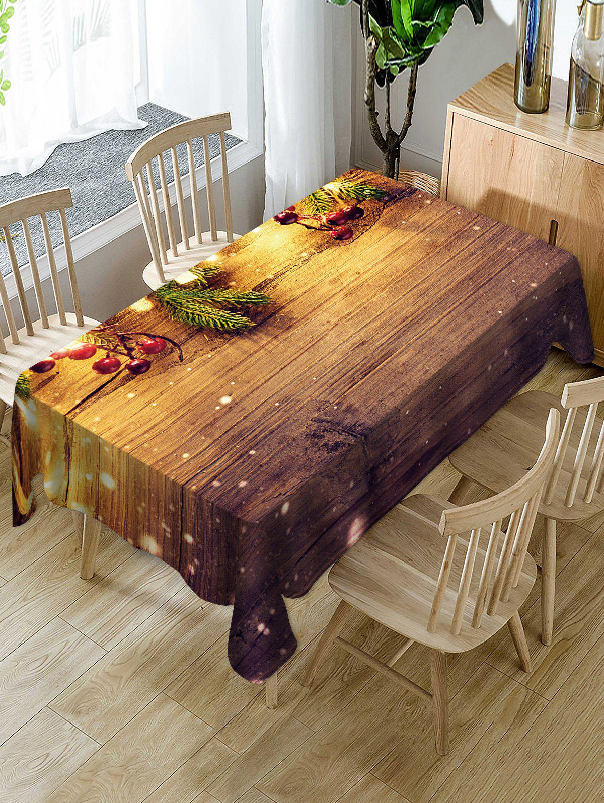 Chic Christmas Wooden Print Fabric Waterproof Table Cloth