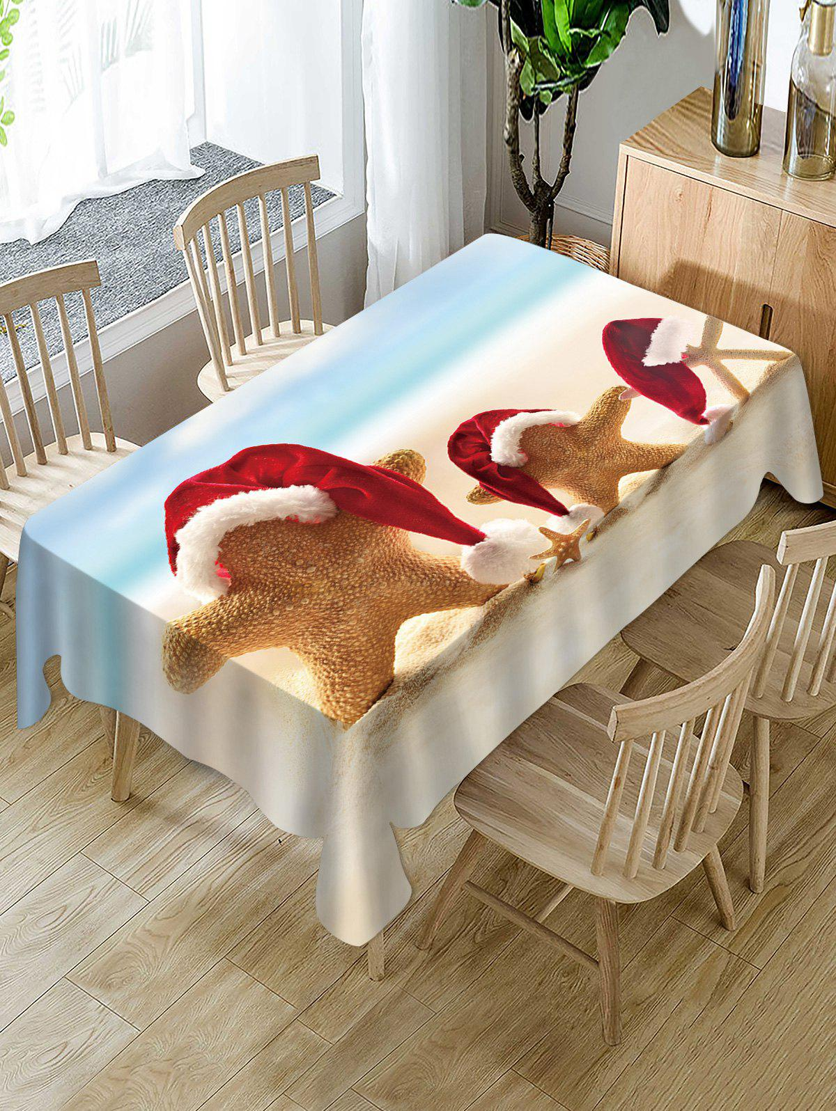Hot Christmas Hat Starfish Print Fabric Waterproof Table Cloth