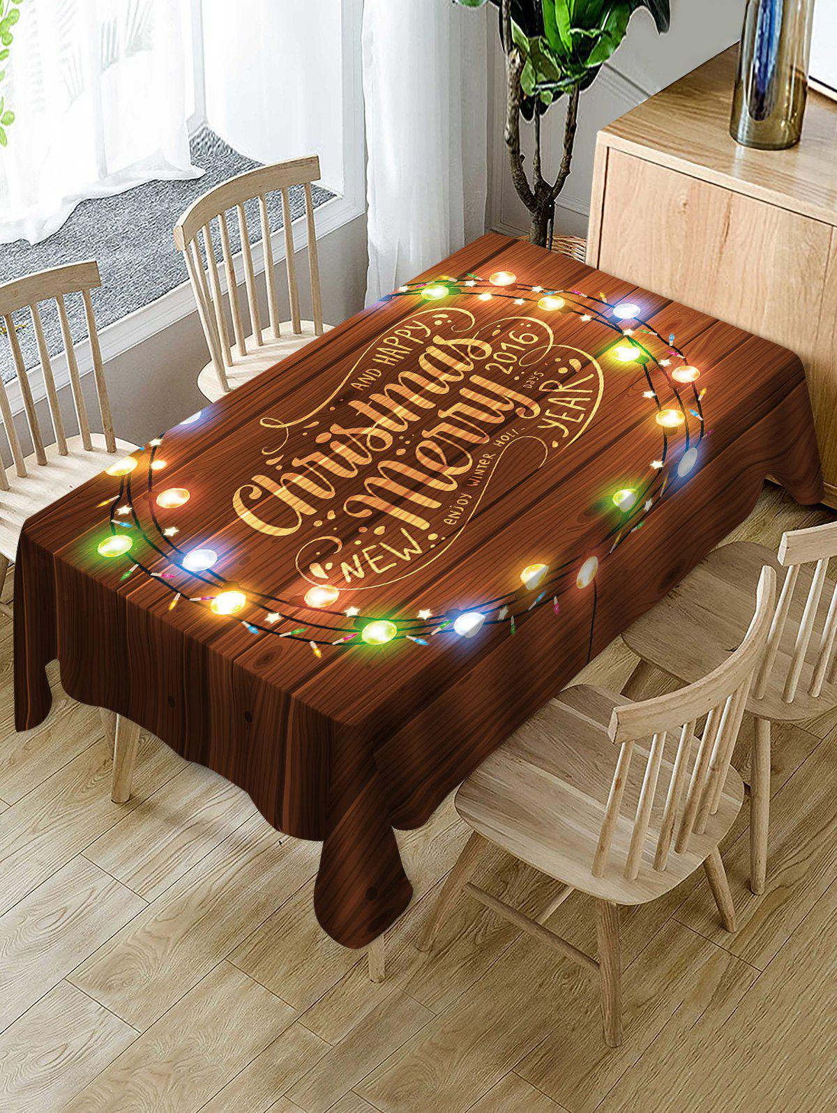Latest Merry Christmas Light Fabric Waterproof Table Cloth