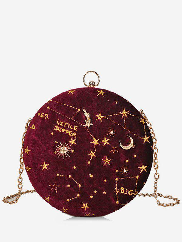 Shop Round Shape Embroidery Star Crossbody Bag