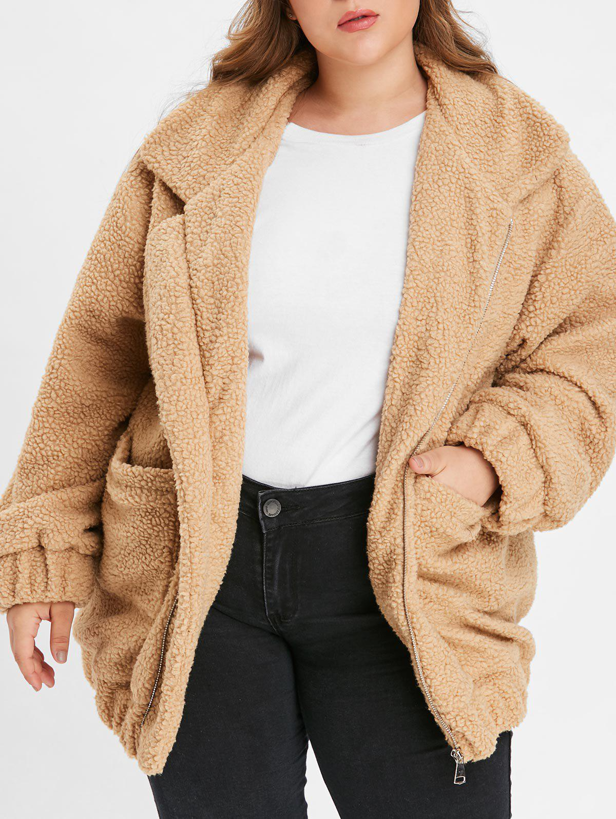 Buy Plus Size Zipper Fluffy Coat