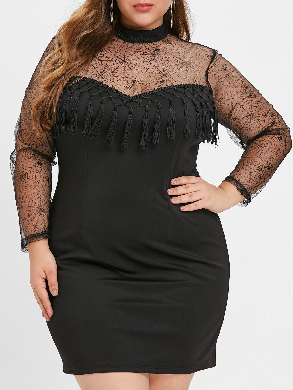 Chic Plus Size Tassel Mesh Panel Bodycon Dress