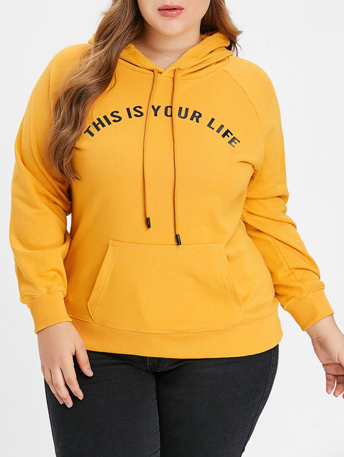Outfit Plus Size Letterr Pattern Hoodie